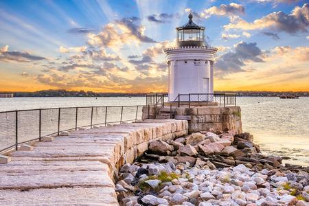 South Portland, Maine, USA w Portland latarni falochronu. Zdjęcie Seryjne
