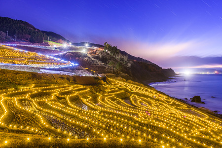 Wajima, Japan at Shiroyone Senmaida rice terraces night light up. Stock Photo