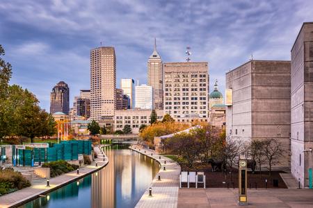 Indianapolis, Indiana, USA skyline on the Canal Walk. Stock Photo