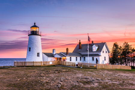 Pemaquid Point Light in Bristol, Maine, USA. Banco de Imagens
