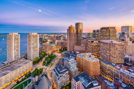 Boston, Massachusetts, USA downtown cityscape at dusk.