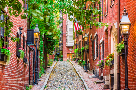 Acorn Street in Boston, Massachusetts, USA. Archivio Fotografico