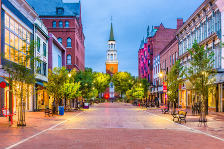 Burlington, Vermont, USA at Church Street Marketplace. Stockfoto