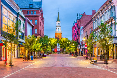 Burlington, Vermont, USA at Church Street Marketplace. 免版税图像