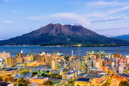 Kagoshima, Japan skyline with Sakurajima Volcano. Archivio Fotografico