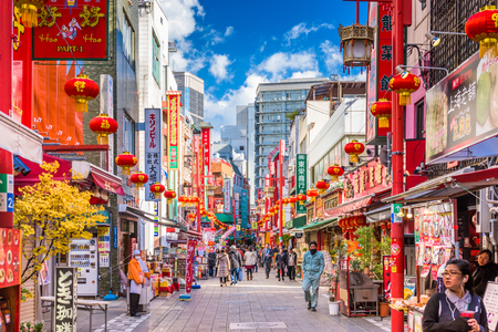 KOBE, JAPAN - DECEMBER 17, 2015: Chinatown district of Kobe at the square and pavilion. It is one of three designated Chinatowns in Japan.