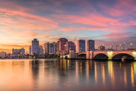 West Palm Beach, Florida, USA downtown skyline on the intracoastal waterway.