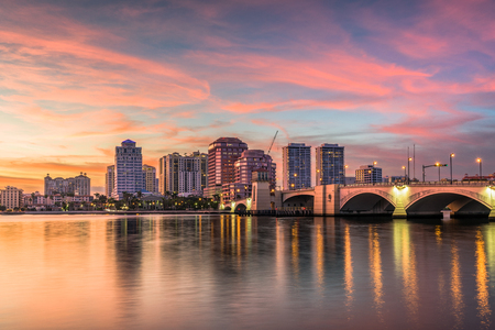 West Palm Beach, Florida, USA downtown skyline on the intracoastal waterway.