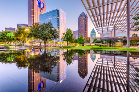 Dallas, Texas, USA downtown plaza and skyline.