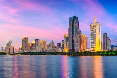 Xiamen, China city skyline from Gulangyu Island.