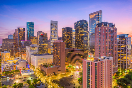 Houston, Texas, USA downtown city skyline. 版權商用圖片