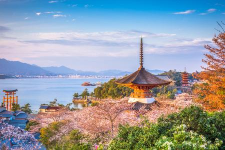 Miyajima, Hiroshima, Japan spring landscape.