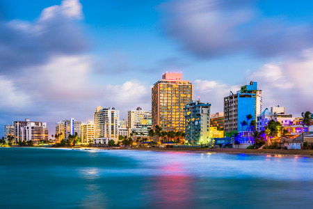 San Juan, Puerto Rico skyline on Condado Beach.