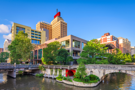 San Antonio, Texas, USA downtown skyline on the river walk.