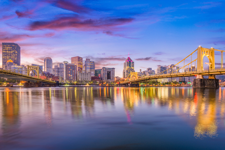 Pittsburgh, Pennsylvania, USA skyline on the Allegheny River. Stock Photo