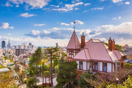 Kobe, Japan historic district and skyline.