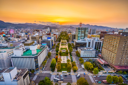 Sapporo, Japan Cityscape over Odori Park at dusk. Stock Photo