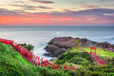 Motonosumi Inari Shrine in Yamaguchi Prefecture, Japan. (Sign reads