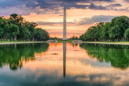 Washington Monument from the Reflecting Pool in Washingon DC, USA. Editorial