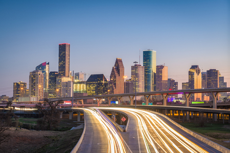 Houston, Texas, USA downtown city skyline and highway. 版權商用圖片 - 96361692