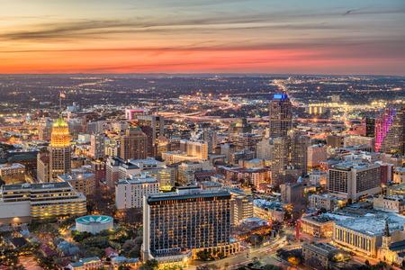 San Antonio, Texas, USA downtown city skyline at dusk. Stock Photo
