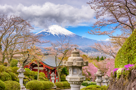 Gotemba City, Japan at Peace Park with Mt. Fuji in spring season.