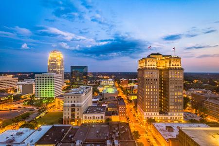 Winston-Salem, North Carolina, USA skyline at dusk.