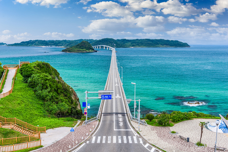 Tsunoshima Ohashi Bridge in Shimonoseki, Japan. 免版税图像
