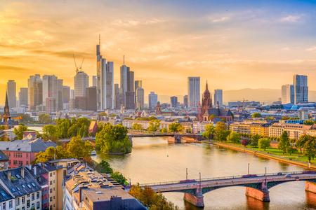 Frankfurt, Germany skyline over the Main River.