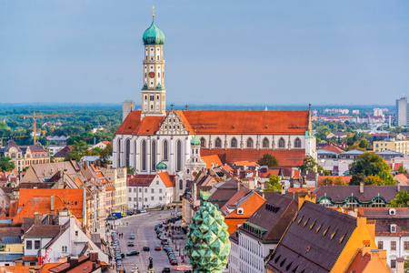 Augsburg, Germany skyline with cathedrals. Stok Fotoğraf