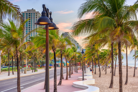 Ft. Lauderdale, Florida, USA on the beach strip. 스톡 콘텐츠