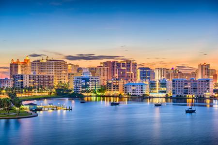 Sarasota, Florida, USA skyline on the bay at dawn.