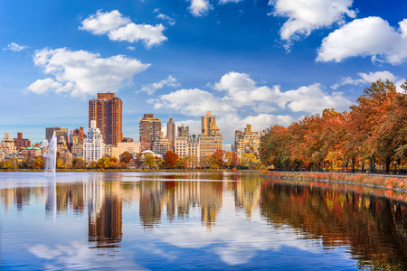 New York, New York at central park in autumn season.
