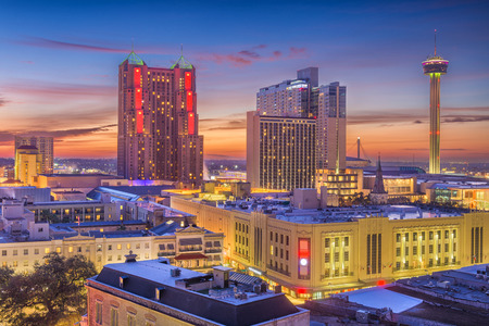 San Antonio, Texas, USA Skyline at dusk. Stock Photo