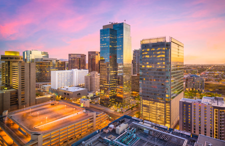 Phoenix, Arizona, USA cityscape in downtown at sunset. Stok Fotoğraf