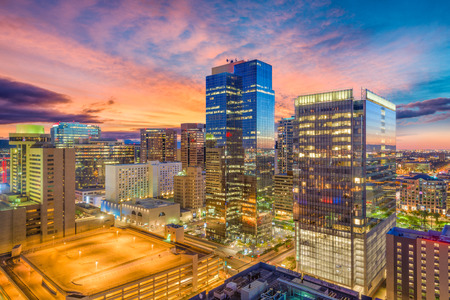 Phoenix, Arizona, USA cityscape in downtown at sunset. 免版税图像