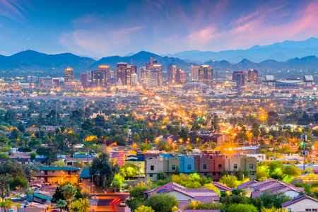 Phoenix, Arizona, USA downtown cityscape at dusk. 写真素材