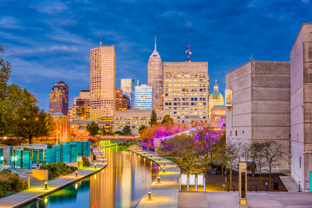 Indianapolis, Indiana, USA downtown skyline over the river walk. Stock Photo - 100706503
