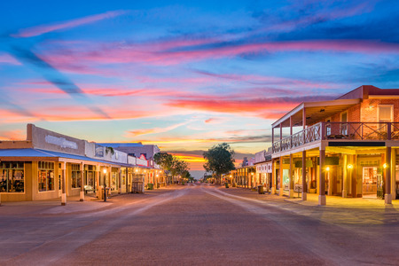 Tombstone, Arizona, USA old western town at sunset. Фото со стока