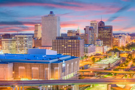 Memphis, Tennessee, USA downtown skyline at twilight. Banco de Imagens