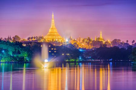 Yangon, Myanmar skyline with Shwedagon Pagoda. Stockfoto