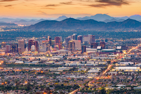 Phoenix, Arizona, USA downtown cityscape at dusk. 版權商用圖片