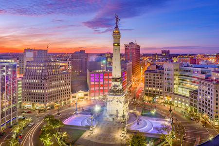Indianapolis, Indiana, USA downtown cityscape over Monument Circle at dusk. Stock Photo
