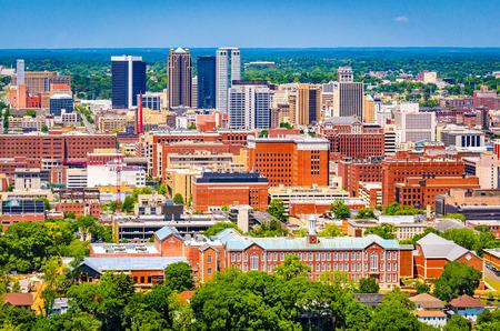 Birmingham, Alabama, USA downtown skyline from above at dusk.