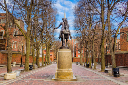 Boston, Massachusetts, USA at the Paul Revere Monument. Banco de Imagens
