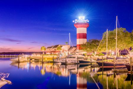 Hilton Head, South Carolina, lighthouse at dusk. Stock Photo