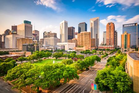 Houston, Texas, USA downtown city skyline over Root Square. Stock Photo