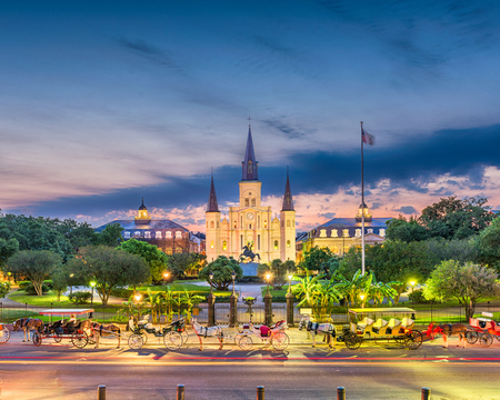 New Orleans, Louisiana, USA town view at St. Louis Cathedral.