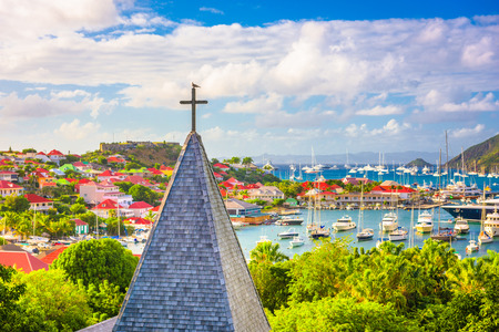 Gustavia, St. Barths church and town skyline.
