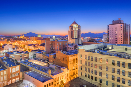 Roanoke, Virginia, USA downtown skyline at dawn.